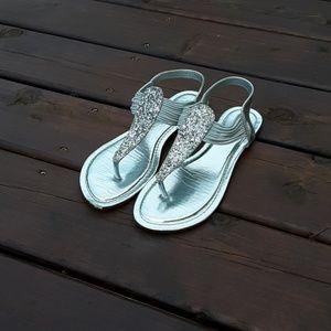 Fancy silver sandals